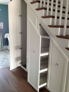 Storage under stairs. Gorgeous Under Stair Storage look Charleston Transitional Staircase Image Ideas with built-in storage closet closet organizers hidden storage pull-out shelves pull-out storage secret closet stair Closet Storage, Built In Storage, Understairs Storage Ideas, Basement Storage, Closet Shelves, Under Stair Storage, Secret Storage, Attic Storage, Pantry Storage