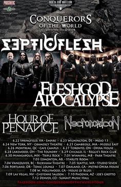 "NEWS: The death metal band, Septicflesh, have announced the dates for the ""Conquerors Of The World Tour"" through North America. The band will be out with Fleshgod Apocalypse, Hour Of Penance and Necronomicon. You can check out the dates and details at http://digtb.us/conquerorsoftheworldtour"