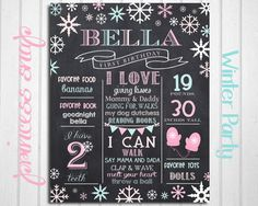 Winter First Birthday Chalkboard Poster Sign by PrincessSnap
