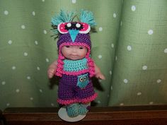"""Doll - 5"""" Bereguer Dolls - Itty Bitty Dolls - Lots to Love Dolls - Ooak Dolls - Cupcake Dolls - Crocheted doll clothes - Doll Stand"""