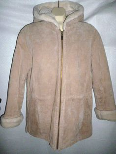 ST. JOHNS BAY LEATHER Tan Sand Suede FAUX FUR LINED Hooded Jacket Coat Women's M #StJohnsBay #BasicCoat #Outdoor