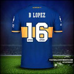 Camiseta Boca Juniors 2020 número 16 b lopez Custom Football Shirts, Custom Shirts, Football Shirt Maker, Messi Y Ronaldinho, Create Shirts, Shirt Store, Your Name, Soccer, Names