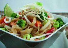 """I call this """"cheater"""" pad thai because it's ridiculously easy and quick to make and also because it uses 1 tbsp of peanut butter, so it's not fat-free.For a lower-carbohydrate and lower-calorie pad thai, substitute 2 cups thinly sliced blanched ..."""