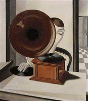 Vrouw met grammofoon by Pyke Koch