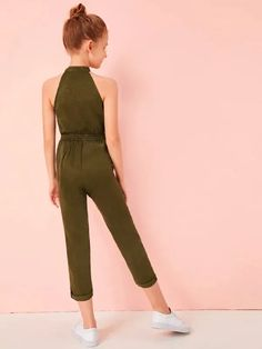 To find out about the Girls Tie Waist Halter Satin Utility Jumpsuit at SHEIN IN, part of our latestGirls Jumpsuits ready to shop online today! Cute Girl Outfits, Kids Outfits Girls, Girls Dresses, Jumpsuits For Girls, Girls Rompers, Modern Hijab Fashion, Jeans And Vans, Designer Jumpsuits, Marie