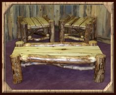 "Natural Log Furniture - Aspen Mountain Man Series Coffee Table & End Tables - Item #CT03087 & #ET06943 - Coffee Table Standard Sizes: 48""Sq x 20""H, 42""Sq x 20""H, 36""Sq x 20""H or 48""W x 30""D x 20""H - End Table Standard Size: 24""Sq"