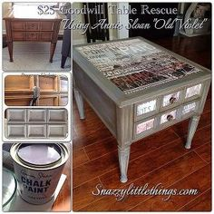 25 goodwill table upcycle, chalk paint, painted furniture, Before and after of a 25 Goodwill table upcycle using Annie Sloan Chalk Paint in Old Violet