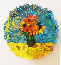 Original hand made paper decorative plate. ABOUT THIS CREATION: This is a 3D paper quilling plate. It features a vase of various flowers. You can hang it on your wall or use it for rings, jewelry or other small items. ABOUT THE PROCESS: This technique is called Quilling, and its origins go