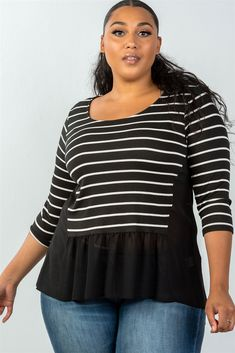 ccc4df90760 Ladies fashion plus size 3 4 sleeve stripe front top with mesh  detail-id.35402