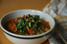 Fresh and Fierce Everyday Crunch Topping on Carrot and Chickpea Soup