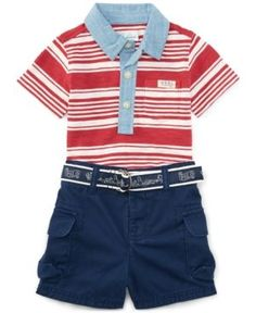Ralph Lauren Baby Boys' Striped Polo Shirt & Cargo Shorts Set - Orange 3 months