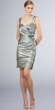Beautiful Noble Grey Satin Braces Pleated Cocktail Dresses Short  Sheath