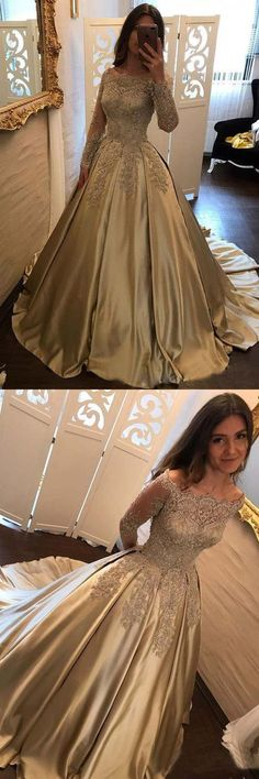Unique Off Shoulder Long Sleeves Lace Prom Dresses With Trailing, Sparkly Beading Ball Gown Prom Dresses, Lace Prom Gown, Ball Gowns Prom, Ball Dresses, Lace Dress, Dress Prom, Satin Gown, Party Dress, Sleeved Prom Dress, Muslim Prom Dress