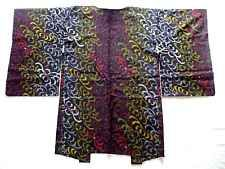 Japanese Vintage Kimono, HAORI, SILK, Black, Colorful flower,COOL!! M120912