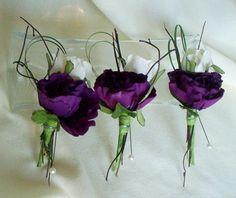 Wedding Boutonnieres Modern  Buttonholes Silk purple Wedding Flowers Bridal accessories Groom, groomsmen custom for Paula