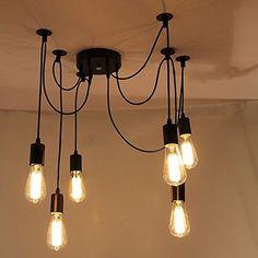 Lemonbestreg; 6 Head E27 Vintage DIY Ceiling Chandelier Light Fixtures Antique Adjustable Flush Mount Pendant Light Lamp Lemonbest® http://www.amazon.com/dp/B0105XYS04/ref=cm_sw_r_pi_dp_FQRfwb0BHNV40
