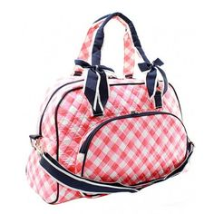 Quilted Coral Plaid Double Bow Duffle Bag