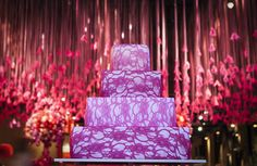 Cake decorated with pink lace
