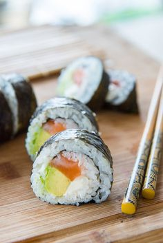 Homemade Sushi (Salmon, Avocado, Cream Cheese)