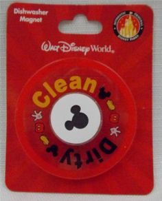 Disney-Parks-Mickey-Mouse-Dishwasher-Magnet-Sign-Dirty-Clean-Plastic-New