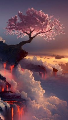 Kit de peinture par numéro - Cherry Blossom Tree on Volcano with Flowing Lava. Fantasy Art Landscapes, Beautiful Landscapes, Landscape Paintings, Trees Beautiful, Landscape Art, Beautiful Images, Cherry Blossom Tree, Blossom Trees, Bali Stil