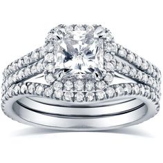 Art Deco Radiant-cut Halo Diamond 3-Piece Bridal Ring Set 1 3/4 Carat (ctw) in 14k White Gold featuring polyvore, fashion, jewelry, rings, radiant cut engagement rings, engagement rings, diamond rings, bridal set rings and wedding set ring