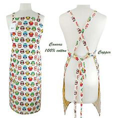 """100% Cotton Canvas Apron,Aiden Brothers Adjustable Neck Waist Extra Long Cross Back Ties 2 Large Pockets Canvas Chef's Apron for Cooking Baking Crafting Gardening, BBQ 26""""x35"""" (Colorful small owl) #Cotton #Canvas #Apron,Aiden #Brothers #Adjustable #Neck #Waist #Extra #Long #Cross #Back #Ties #Large #Pockets #Chef's #Apron #Cooking #Baking #Crafting #Gardening, #(Colorful #small #owl)"""