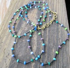 Extra Long Boho Beaded Necklace Long Blue Black by VooVooDesign
