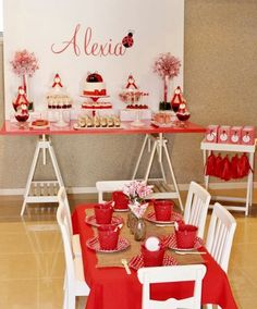 White, red,  and black ladybug party