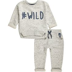 """Two-piece set Featuring a matching sweater and joggers Sweater: Marl """"#Wild"""" slogan print Crew neck Long sleeves with turn-up cuffs Joggers: Marl Faux drawstring waist Skull print"""