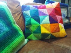 This is some of the most amazing crochet I've seen. I can't even imagine how difficult it was!  Third (the triangle nightmare) Pillow Done.
