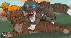 """Hawkfrosts Death. """"Writhing from side to side, Brambleclaw spotted the stick from the fox trap lying half under his shoulder. He strained his neck and managed to get it in his teeth. As Hawkfrost lunged down toward him,  he heaved the stick around and the sharpened end sunk deep into Hawkfrost's throat. Hawkfrost stiffened with a horrible gurgling sound, then fell limp , heavy on Brambleclaw's chest."""" - Warriors: Sunset"""