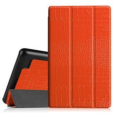Fintie SlimShell Case for Fire 7 2015  Ultra Slim Lightweight Standing Cover for Amazon Fire 7 Tablet will only fit Fire 7 Display 5th Generation  2015 release ZACrocodile Orange -- Click the image to visit the Amazon website