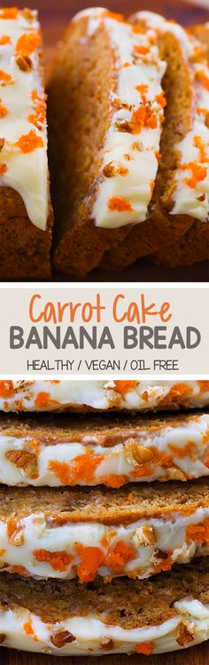 Carrot Cake Banana Bread, With Homemade Frosting! Carrot Cake Banana Bread, With Homemade Frosting! Vegan Treats, Vegan Foods, Healthy Desserts, Dessert Recipes, Picnic Recipes, Baking Desserts, Cake Baking, Cake Recipes, Banana Carrot Bread