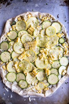 Zucchini and Roasted Sweet Corn Provolone Phyllo Pizza with Truffle Oil | halfbakedharvest.com @hbharvest