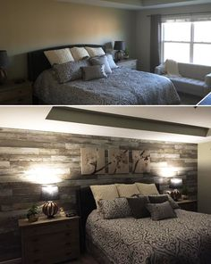 "Top 2016 Trend: Whitewashed Styles! | ""Added laminate flooring to bedroom wall to give the room a distressed barn wood accent wall."" – Daniel, MI"