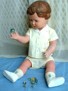 Tall RARE 2' Vintage Turtle Mark CELLULOID German Doll Fully-Jointed, Glass Blue Eyes HALLMARKED - RARE Size!