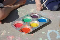 sidewalk chalk paint. uses a 1:1 ratio of cornstarch & water & food coloring to color ;D
