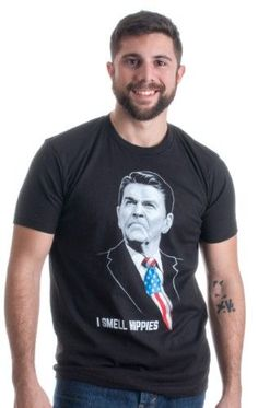 I Smell Hippies Funny Ronald Reagan Conservative Merica USA Unisex T-shirt-Adult,M, Size: Medium, Black