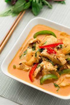 Thai red curry chicken recipe on Chichilicious. made this tonight, substituted green pepper for snap peas and Thai red curry pasta for just red pepper tomato paste and used a bit of garlic chilli sauce. Indian Food Recipes, Asian Recipes, Healthy Recipes, Thai Curry Recipes, Easy Thai Recipes, Thai Chicken Recipes, Thai Red Curry Sauce Recipe, Red Coconut Curry Recipe, Thai Basil Recipes