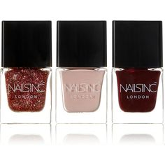 Nails inc Festive Cracker Set of Three Mini Nail Polishes ($29) ❤ liked on Polyvore featuring beauty products, nail care, nail polish, red, nails inc., sparkle nail polish, mini nail polish and red nail polish