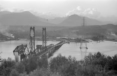 [Looking north along the Second Narrows Bridge] - City of Vancouver Archives Stanley Park, Fraser Valley, Under Construction, Westminster, Two By Two, Mountains, Transmission Tower, Architecture, Arquitetura