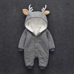 * Fleece lining<br /> * Button closure<br /> * Soft and warm<br /> * Material: 50% Cotton, 50% Polyester<br /> * Machine wash, tumble dry<br /> * Imported<br /> <br /> Cute, cuddly and oh-so soft, this easy 1-piece is perfect for playtime, tummy time, or anytime! #babyclothes