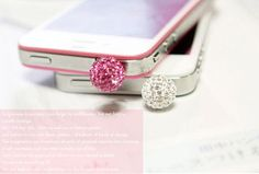 Bling Crystal ball Earphone Cap Anti Dust Plug for iPhone 5 & 4, Samsung S3-1PC pink plug white purplr cute plug girly. $4.99, via Etsy.