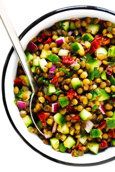 This lentil salad recipe is easy to make with French lentils, cucumber, sun-dried tomatoes, red onion, fresh mint and a zippy lemon dressing. Lentil Salad Recipes, Vegetarian Recipes, Cooking Recipes, Healthy Recipes, Healthy Lentil Recipes, Red Lentil Salad, Farro Salad, Tomato Salad, Easy Salads