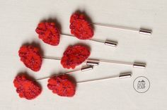 Heart shaped red wool felt lapel pin handstitched by ASDFstyle