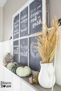 """Fall Chalkboard and Shelf Vignette 