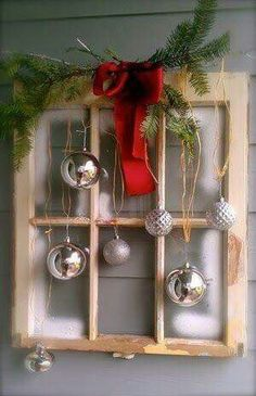 Christmas balls in an old window Christmas Projects, Holiday Crafts, Winter Christmas, Christmas Holidays, Christmas Ideas, Christmas Windows, Merry Christmas, Antique Christmas Decorations, Front Porch Ideas For Christmas