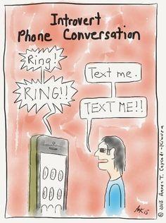 Introvert Phone Conversation. Introvert Cartoon from http://infjoe.wordpress.com.