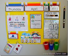 Great way to redo your calendar board from Mama Jenn.  The key rings help keep everything together and organized!